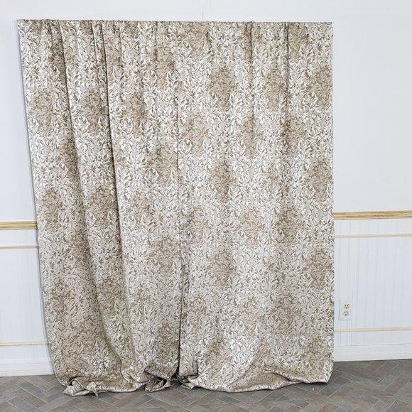 Other - Vtg Curtain Panels Tan Damask Floral 76x83